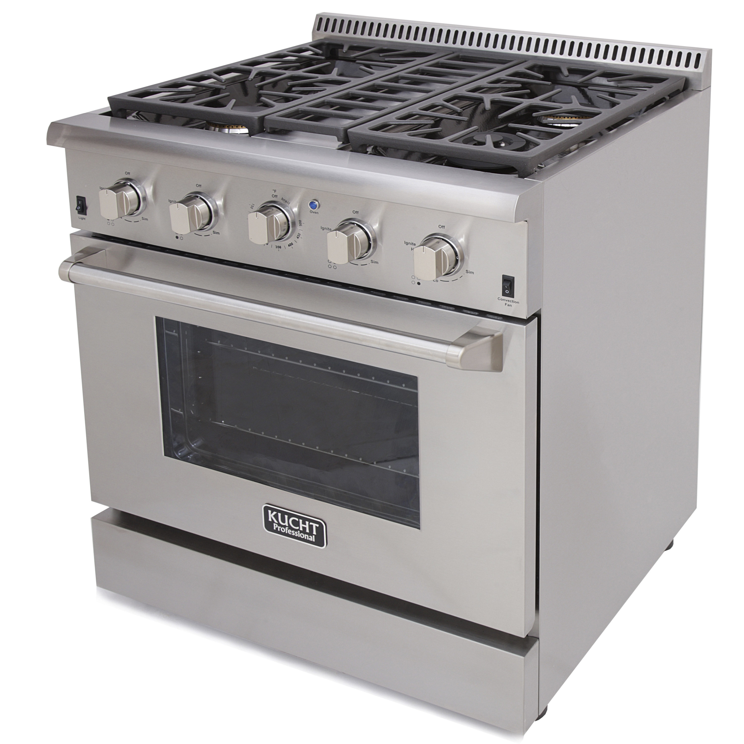 KUCHT 30 Professional Gas Range KRG3080U Stainless Steel Convection Oven
